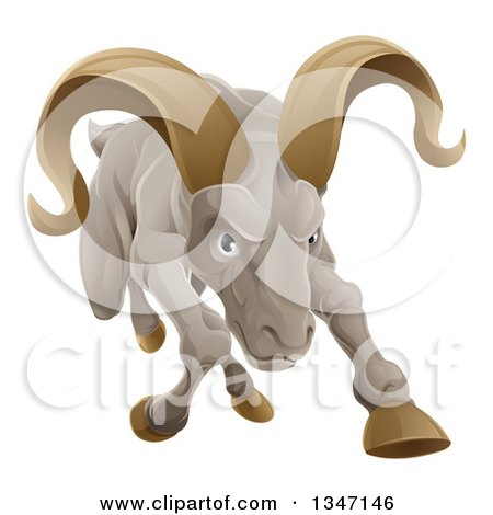 Clipart of a Tough Angry Ram Sheep Charging Forward - Royalty Free Vector Illustration by AtStockIllustration