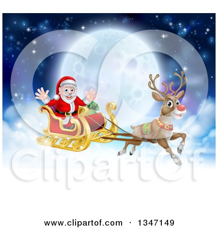 Clipart of a Flying Magic Christmas Red Nosed Reindeer, Rudolph, Flying Santa in a Sleigh Above the Clouds Against a Full Moon - Royalty Free Vector Illustration by AtStockIllustration