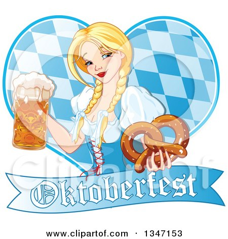 Clipart of a Happy Blond Oktoberfest Beer Maiden Holding a Mug and Soft Pretzel over a Diamond Patterned Heart and Banner - Royalty Free Vector Illustration by Pushkin