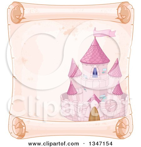 Clipart of a Pink Fairy Tale Castle on an Aged Parchment Scroll Page - Royalty Free Vector Illustration by Pushkin
