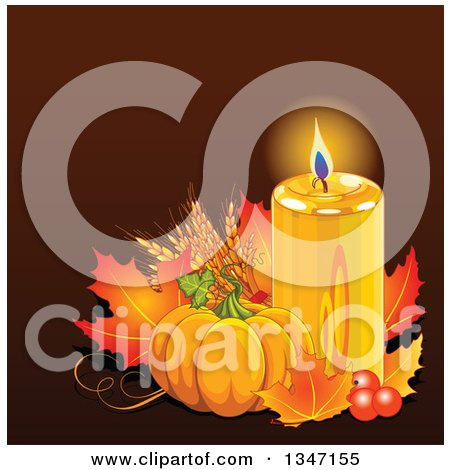 Clipart of a Festive Pumpkin with Autumn Leaves and a Glowing Candle over Brown - Royalty Free Vector Illustration by Pushkin