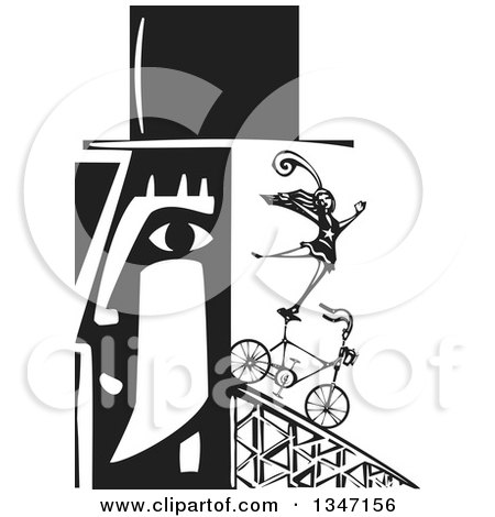 Clipart of a Black and White Woodcut Man's Profiled Head with a Circus Act Woman Balancing on a Bicycle, Coming out of the Back - Royalty Free Vector Illustration by xunantunich