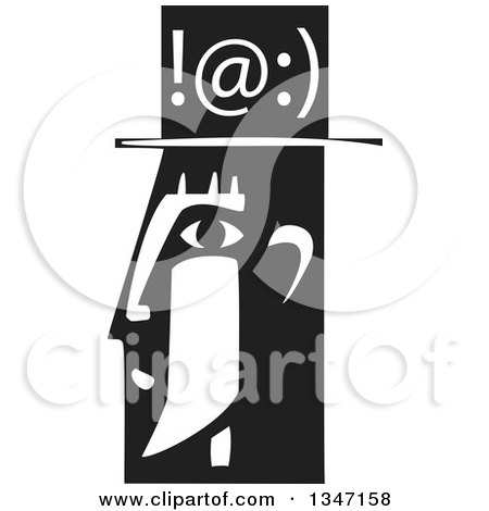 Clipart of a Black and White Woodcut Man's Profiled Head with Texting Symbols - Royalty Free Vector Illustration by xunantunich