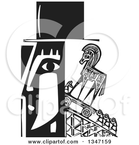Clipart of a Black and White Woodcut Man's Profiled Head with People Pushing a Trojan Horse up a Ramp - Royalty Free Vector Illustration by xunantunich