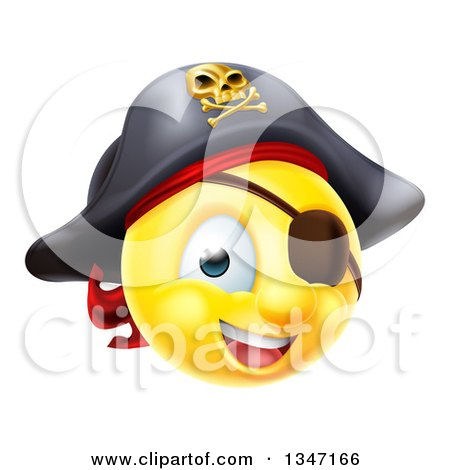 Clipart of a 3d Yellow Smiley Emoji Emoticon Pirate Captain with an Eye Patch - Royalty Free Vector Illustration by AtStockIllustration