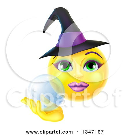 Clipart of a 3d Yellow Female Smiley Emoji Emoticon Witch Holding a Crystal Ball - Royalty Free Vector Illustration by AtStockIllustration