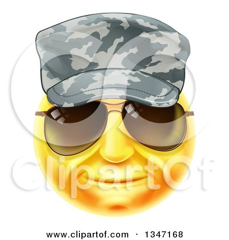 Clipart of a 3d Yellow Soldier Smiley Emoji Emoticon Face Wearing Sunglasses and a Camo Hat - Royalty Free Vector Illustration by AtStockIllustration