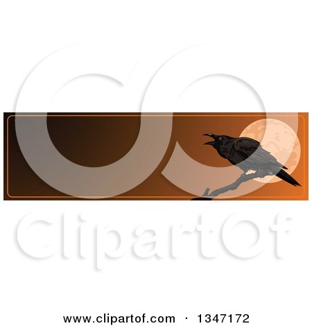 Clipart of a Halloween Raven Crow over a Full Moon Website Banner with Text Space - Royalty Free Vector Illustration by Pushkin