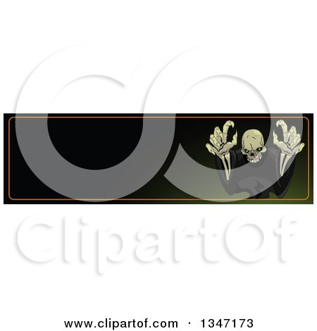 Clipart of a Halloween Skeleton Reaching Outwards Website Banner with Text Space - Royalty Free Vector Illustration by Pushkin