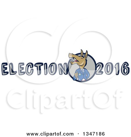 Clipart of a Cartoon Politician Democratic Donkey in a Suit, Giving a Thumb up in Election 2016 Text - Royalty Free Vector Illustration by patrimonio