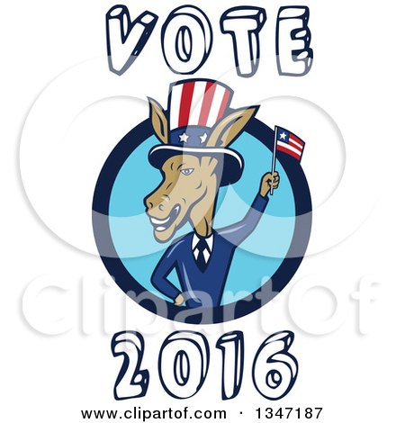 Clipart of a Cartoon Politician Democratic Donkey in a Suit, in a Blue Circle, Waving an American Flag, with Vote 2016 Text - Royalty Free Vector Illustration by patrimonio