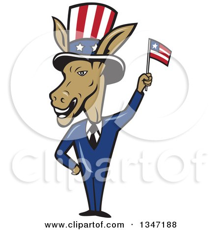Clipart of a Cartoon Politician Democratic Donkey in a Suit, Waving an American Flag - Royalty Free Vector Illustration by patrimonio