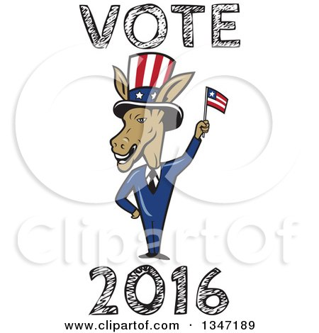 Clipart of a Cartoon Politician Democratic Donkey in a Suit, Waving an American Flag, with Vote 2016 Text - Royalty Free Vector Illustration by patrimonio