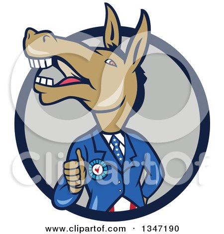 Clipart of a Cartoon Politician Democratic Donkey in a Suit, Giving a Thumb up in a Navy Blue and Gray Circle - Royalty Free Vector Illustration by patrimonio