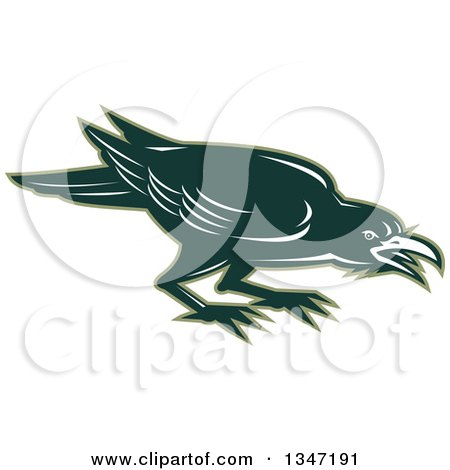 Clipart of a Retro Angry Green Raven Crow Bird - Royalty Free Vector Illustration by patrimonio