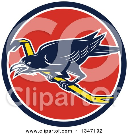 Clipart of a Retro Raven Bird on a Crowbar in a Blue White and Red Circle - Royalty Free Vector Illustration by patrimonio
