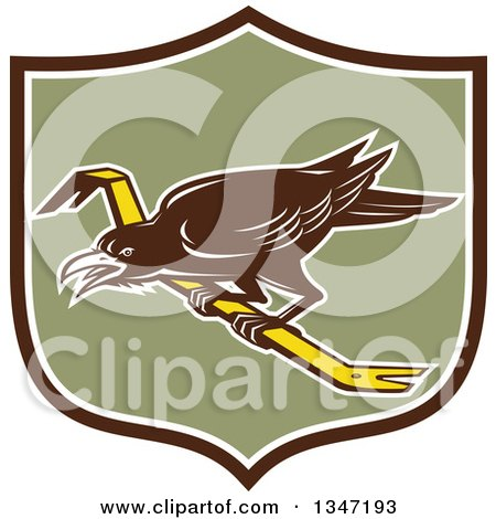 Clipart of a Retro Raven Bird on a Crowbar in a Brown White and Green Shield - Royalty Free Vector Illustration by patrimonio