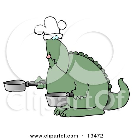 Green Dino in a Chefs Hat, Cooking With a Pan and Pot Posters, Art Prints