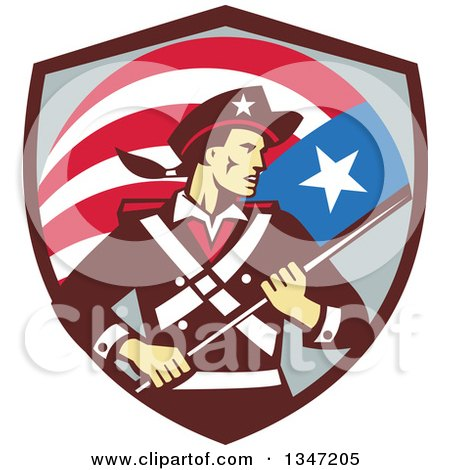 Clipart of a Retro American Patriot Minuteman Revolutionary Soldier Holding a Flag Banner in a Shield - Royalty Free Vector Illustration by patrimonio
