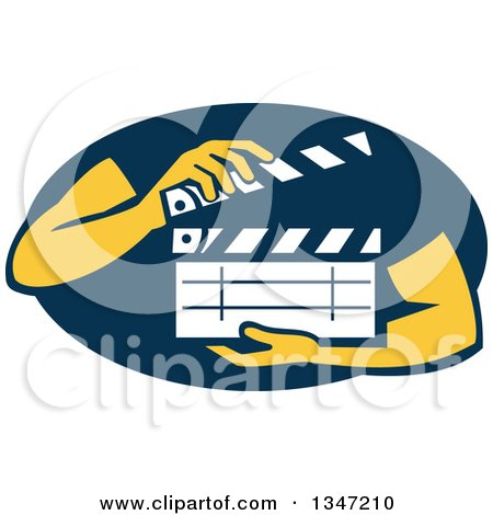 Clipart of Hands Holding a Clapperboard in a Navy Blue Oval - Royalty Free Vector Illustration by patrimonio