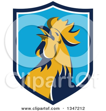 Clipart of a Retro Crowing Rooster in a Blue and White Shield - Royalty Free Vector Illustration by patrimonio