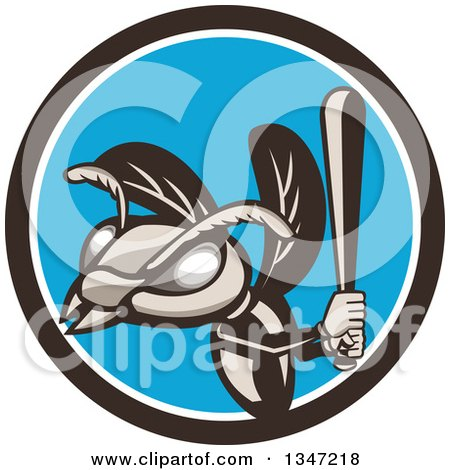Clipart of a Retro Hornet Baseball Sports Mascot Batting in a Circle - Royalty Free Vector Illustration by patrimonio