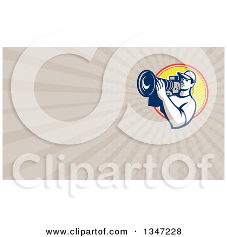 Clipart of a Retro Male Cameraman Filming in a Circle and Taupe Rays Background or Business Card Design - Royalty Free Illustration by patrimonio