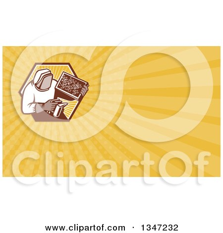 Clipart of a Retro Beekeeper Smoking out a Bee Hive and Yellow Rays Background or Business Card Design - Royalty Free Illustration by patrimonio