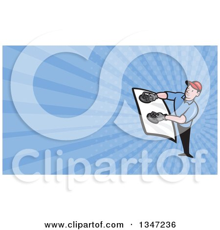 Clipart of a Cartoon White Male Glass Windshield Installer and Blue Rays Background or Business Card Design - Royalty Free Illustration by patrimonio