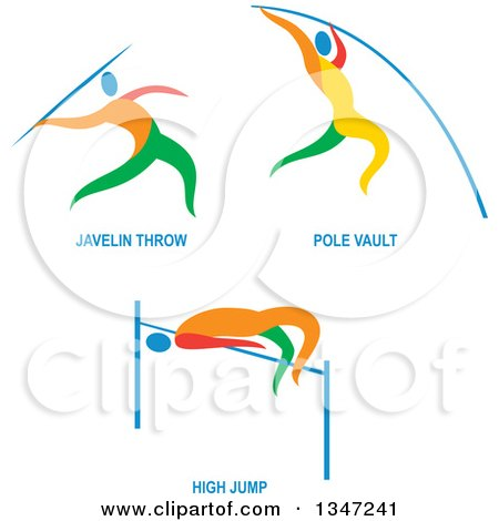 Clipart of Colorful Track and Field Javelon Throw, Pole Vault and High Jump Athletes with Text - Royalty Free Vector Illustration by patrimonio