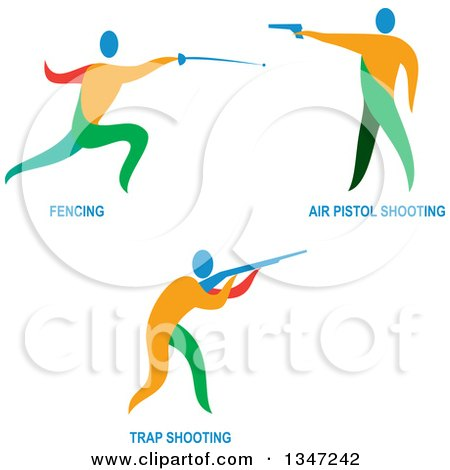 Clipart of Colorful Athletes Fencing and Shooting Air Pistols and Rifles and Text - Royalty Free Vector Illustration by patrimonio