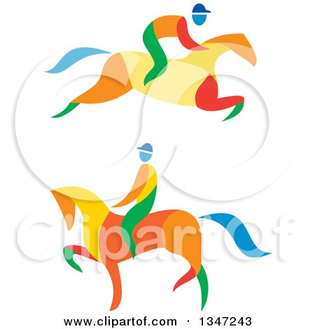 Clipart of Colorful Equestrians on Horses - Royalty Free Vector Illustration by patrimonio