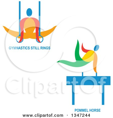 Clipart of Colorful Gymnast Athletes on Still Rings and the Pommel Horse with Text - Royalty Free Vector Illustration by patrimonio