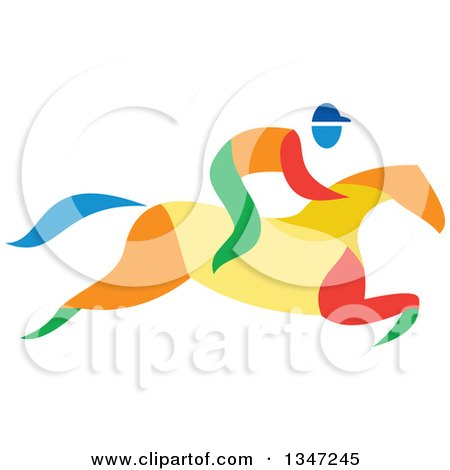 Clipart of a Colorful Equestrian Racing a Horse - Royalty Free Vector Illustration by patrimonio