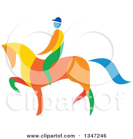 Clipart of a Colorful Equestrian on a Horse - Royalty Free Vector Illustration by patrimonio
