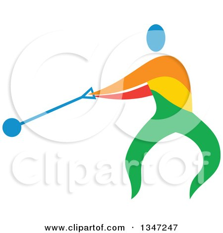 Clipart of a Colorful Track and Field Athlete Hammer Throwing - Royalty Free Vector Illustration by patrimonio