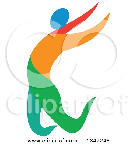 Clipart of a Colorful Track and Field Athlete Long Jumping - Royalty Free Vector Illustration by patrimonio