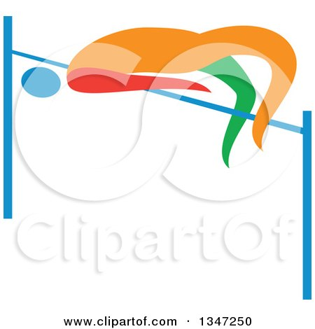 Clipart of a Colorful Track and Field Athlete High Jumping - Royalty Free Vector Illustration by patrimonio