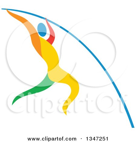 Clipart of a Colorful Track and Field Athlete Pole Vaulting - Royalty Free Vector Illustration by patrimonio