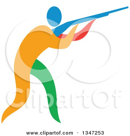 Clipart of a Colorful Athlete Trap Shooting - Royalty Free Vector Illustration by patrimonio