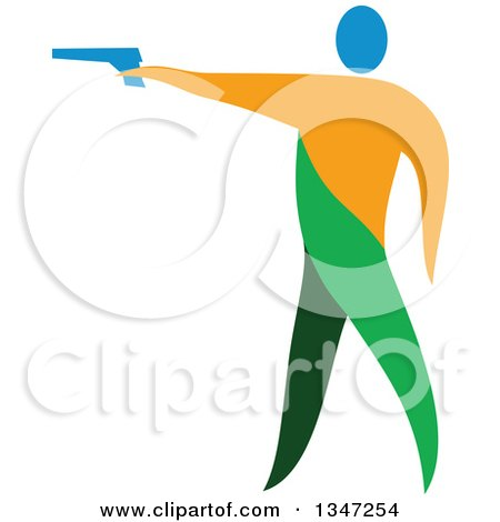 Clipart of a Colorful Athlete Shooting an Air Pistol - Royalty Free Vector Illustration by patrimonio