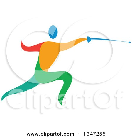 Clipart of a Colorful Athlete Fencing - Royalty Free Vector Illustration by patrimonio
