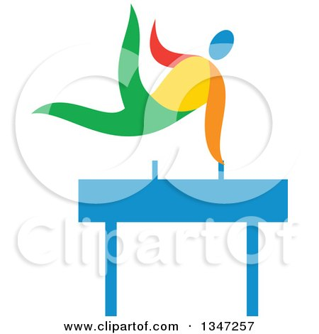 Clipart of a Colorful Gymnast Athlete on a Pommel Horse - Royalty Free Vector Illustration by patrimonio