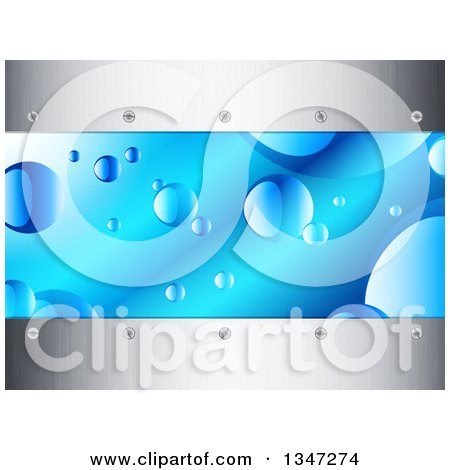 Clipart of a Background of Bubbles in Blue Water, Borderd with Metal and Screwd - Royalty Free Vector Illustration by elaineitalia