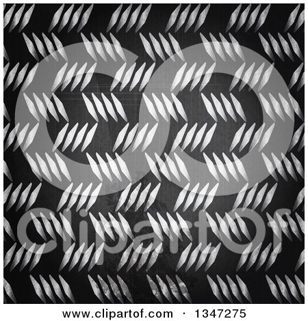 Clipart of a Background of Scratched Diamond Plate Metal - Royalty Free Vector Illustration by elaineitalia