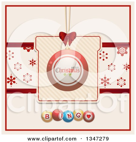 Clipart of a Suspended Red Merry Christmas Bauble Ornament on a Gift with a Snowflake Banner over Bingo Balls - Royalty Free Vector Illustration by elaineitalia
