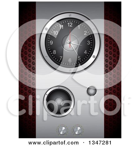 Clipart of a 3d Music Speaker with a Clock and Knobs over Perforated Metal - Royalty Free Vector Illustration by elaineitalia