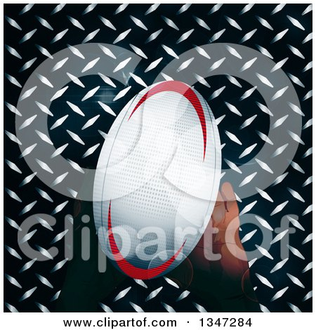 Clipart of Hands Holding a Rugby Ball over Diamond Plate Metal and Flares - Royalty Free Vector Illustration by elaineitalia