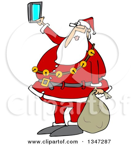 Clipart Of A Cartoon Christmas Santa Claus Taking A Selfie With A Cell Phone Royalty Free Vector Illustration