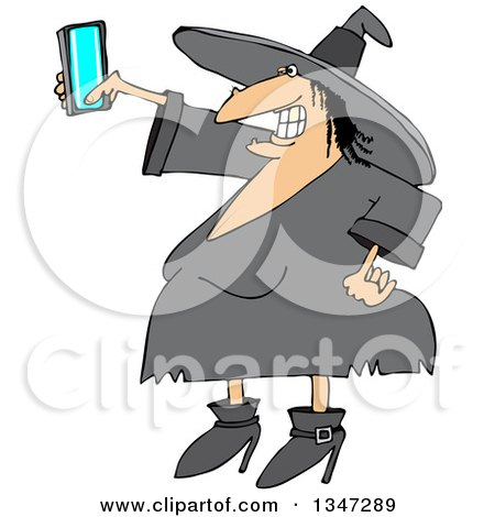 Clipart of a Cartoon Chubby Halloween Witch Taking a Selfie with a Cell Phone - Royalty Free Vector Illustration by djart